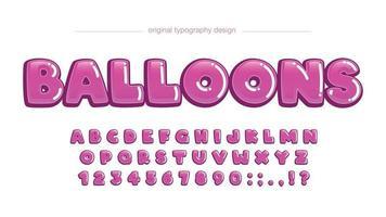 typographie personnalisée de dessin animé de bulle arrondie rose vecteur