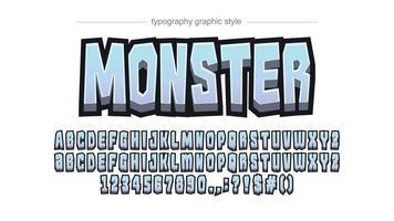 typographie personnalisée de dessin animé 3d bleu clair vecteur