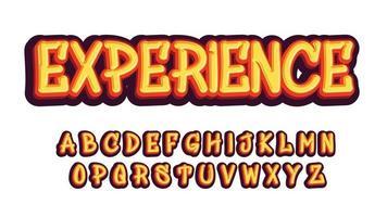 typographie personnalisée de dessin animé de style graffiti jaune vecteur