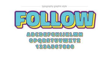 typographie personnalisée de dessin animé 3d bleu et jaune coloré vecteur