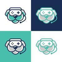 jeu d'icônes de combiné chien joystick vecteur