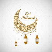 Beau fond de carte islamique Eid mubarak vecteur