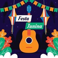festa junina avec concept de fond de guitare et cerf-volant vecteur