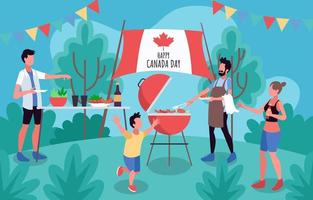 barbecue en famille pour la fête du canada vecteur