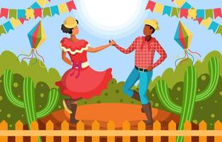 un couple dansant célébrant festa junina vecteur