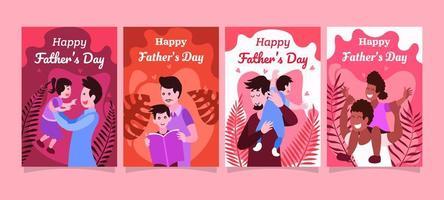 ensemble de cartes de vœux pour la fête des pères vecteur