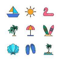jeu d'icônes de pack de démarrage de vacances d'été vecteur