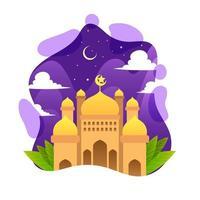 mosquée eid colorée vecteur