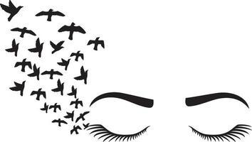 cils et sourcils de femme avec des oiseaux vecteur