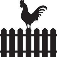 coq sur clôture vecteur