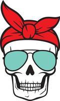 crâne avec lunettes de soleil aviateur et bandana vecteur