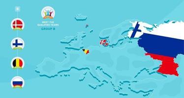 illustration vectorielle de groupe b championnat de football européen 2020 avec une carte de l & # 39; europe et le drapeau des pays en surbrillance qui s'est qualifié pour la phase finale et le logo signe sur fond bleu vecteur