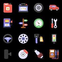 atelier automobile et éléments vecteur
