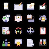 icônes e-learning et éducation vecteur