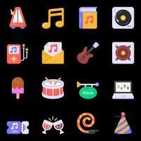 icônes disco et fête vecteur