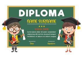 certificat de diplôme pour les enfants d'âge préscolaire et primaire vecteur