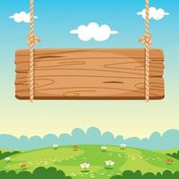 illustration de panneau en bois vierge vecteur