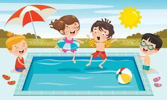 enfants drôles nageant à la piscine vecteur