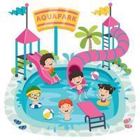 enfants nageant dans un parc aquatique vecteur