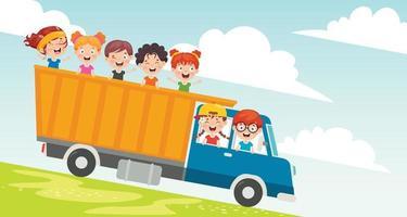 personnages de dessins animés voyageant avec un véhicule vecteur