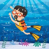 petit personnage de dessin animé plongeant dans l'océan vecteur