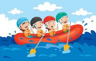 groupe de petits enfants rafting vecteur