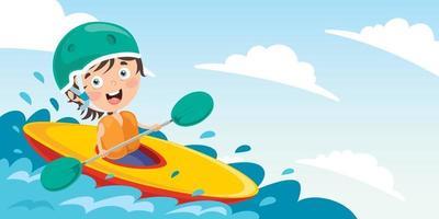 personnage de dessin animé avec un canoë vecteur