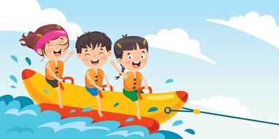 enfants s'amusant sur un bateau banane vecteur