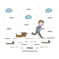Garçon et son vecteur de chien
