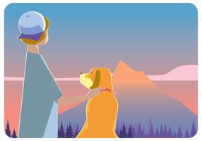 Garçon avec son chien dans le vecteur de la montagne
