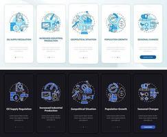 Caractéristiques de la valeur pétrolière Écran de la page de l'application mobile d'intégration avec concepts vecteur