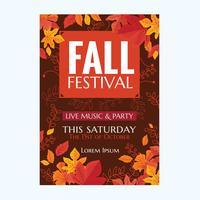Vector Autumn Party Poster ou Festival d'automne avec des feuilles et dessinés à la main
