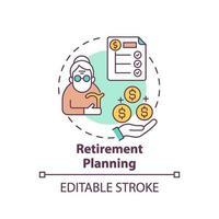 icône de concept de planification de la retraite vecteur
