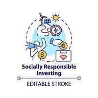 icône de concept d & # 39; investissement socialement responsable vecteur