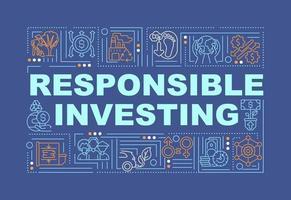 bannière de concepts mot investissement responsable vecteur