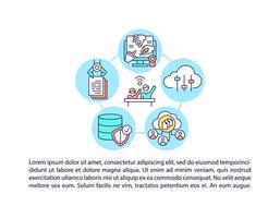 ict pour la participation aux icônes de ligne de concept de société civique avec texte vecteur