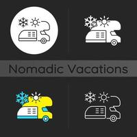 rv climatisation et chauffage thème sombre icône vecteur