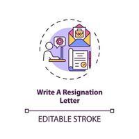 écrire une icône de concept de lettre de démission vecteur