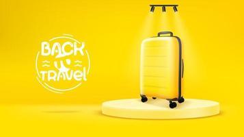 scène jaune vif avec sac jaune retour au concept de voyage vecteur