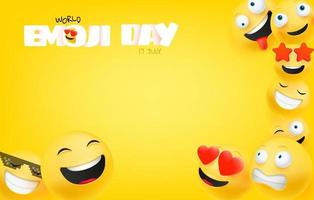 carte de voeux de la journée mondiale des emoji avec espace de copie vecteur