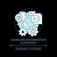 gestion des informations et du contenu icône concept turquoise vecteur