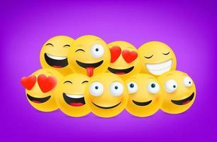 émoticônes souriantes et rieuses vecteur