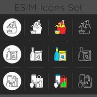 collection d'icônes de thème sombre vecteur