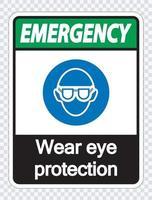 protection oculaire d'usure d'urgence sur fond transparent vecteur