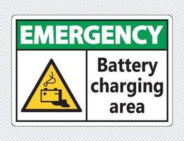 Signe de zone de charge de batterie d'urgence sur fond transparent vecteur