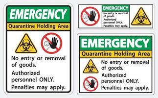signe de zone d'attente de quarantaine d'urgence vecteur