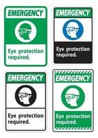 Protection des yeux signe d'urgence symbole requis isoler sur fond blanc vecteur