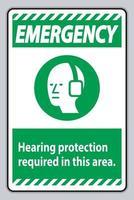 Protection auditive d'urgence avec panneau ppe requis dans cette zone avec symbole vecteur