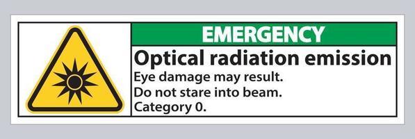 Signe d'urgence signe symbole d'émission de rayonnement optique isoler sur fond blanc vecteur