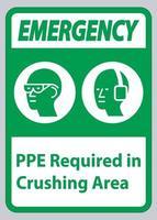 panneau d'urgence ppe requis dans la zone de concassage vecteur